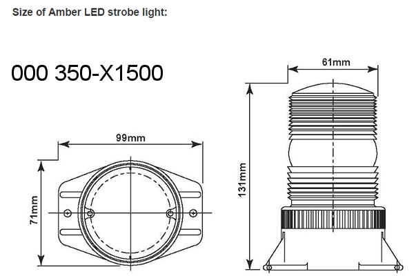 LED Amber Strobe Light